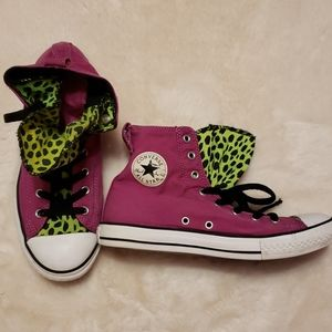 Converse Pink and Leopard Print Shoes 8.5